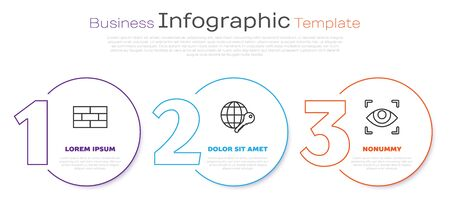 Set line Bricks , Globe key and Eye scan . Business infographic template. Vector Ilustrace