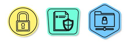 Set line Lock , Document protection concept and FTP folder and lock . Colored shapes. Vector Stock fotó - 137701420