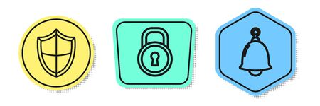 Set line Shield , Lock and Ringing bell . Colored shapes. Vector