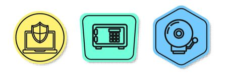 Set line Laptop protected with shield, Safe and Ringing alarm bell . Colored shapes. Vector