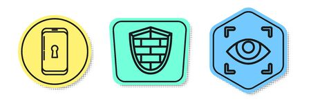 Set line Smartphone with lock , Shield with cyber security brick wall and Eye scan . Colored shapes. Vector