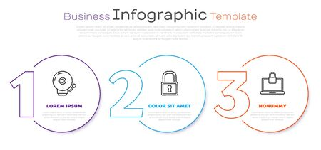 Set line Ringing alarm bell , Lock and Laptop and lock . Business infographic template. Vector