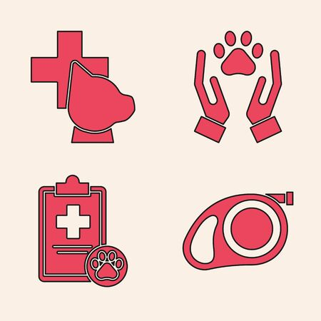 Set Retractable cord leash with carabiner, Veterinary clinic symbol, Hands with animals footprint and Clipboard with medical clinical record pet icon. Vector Illustration