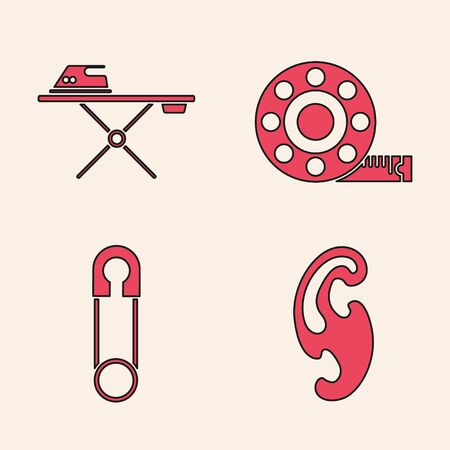 Set French curves, Electric iron and ironing board, Tape measure and Classic closed steel safety pin icon. Vector