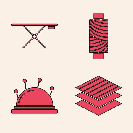 Set Textile fabric roll, Ironing board, Sewing thread on spool and Needle bed and needles icon. Vector Иллюстрация