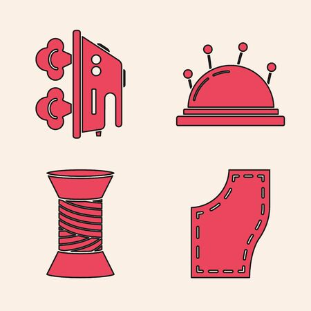 Set Sewing Pattern, Electric iron, Needle bed and needles and Sewing thread on spool icon. Vector Иллюстрация