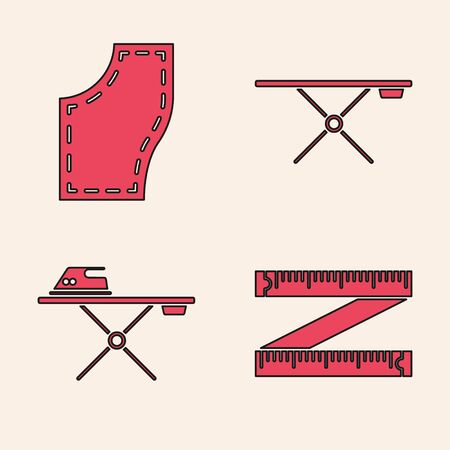 Set Tape measure, Sewing Pattern, Ironing board and Electric iron and ironing board icon. Vector Stock Illustratie