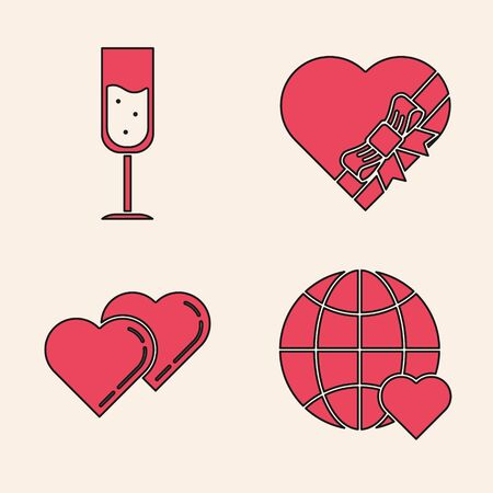 Set The heart world love, Glass of champagne, Candy in heart shaped box and bow and Two Linked Hearts icon. Vector Banque d'images - 137738213