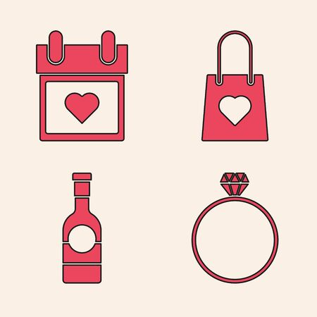 Set Diamond engagement ring, Calendar with heart, Shopping bag with heart and Champagne bottle icon. Vector Banque d'images - 137745012