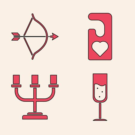 Set Glass of champagne, Bow and arrow, Please do not disturb with heart and Candlestick icon. Vector Imagens - 137745044