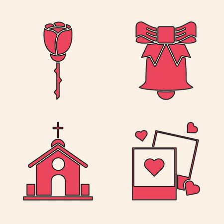 Set Two blanks photo frames and hearts, Flower rose, Ringing bell and Church building icon. Vector