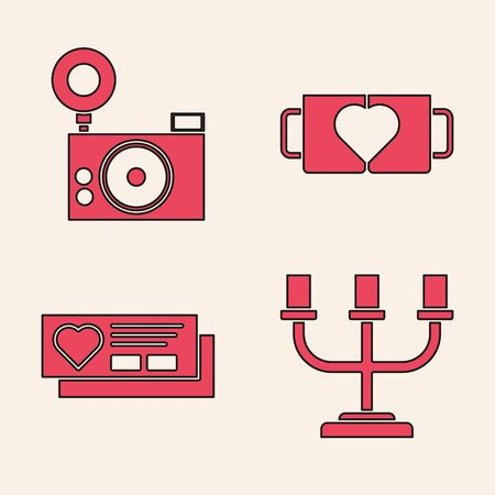 Set Candlestick, Photo camera, Two coffee cup and heart and Ticket with heart icon. Vector Imagens - 137737666