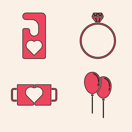 Set Balloons with ribbon, Please do not disturb with heart, Diamond engagement ring and Two coffee cup and heart icon. Vector 向量圖像