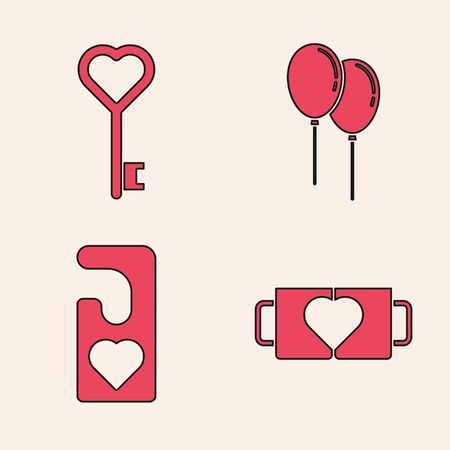 Set Two coffee cup and heart, Key in heart shape, Balloons with ribbon and Please do not disturb with heart icon. Vector 向量圖像