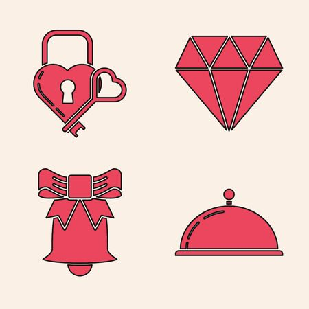 Set Covered with a tray of food, Castle in the shape of a heart and key, Diamond and Ringing bell icon. Vector