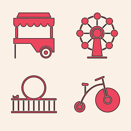 Set Vintage bicycle with one big wheel and one small, Fast street food cart with awning, Ferris wheel and Roller coaster icon. Vector Illustration