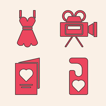 Set Please do not disturb with heart, Woman dress, Cinema camera and Valentines day party flyer with heart icon. Vector