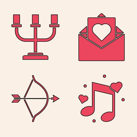 Set Music note, tone with hearts, Candlestick, Envelope with Valentine heart and Bow and arrow icon. Vector