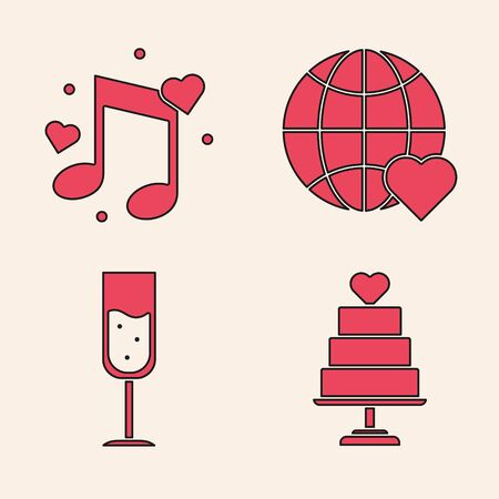 Set Wedding cake with heart, Music note, tone with hearts, The heart world love and Glass of champagne icon. Vector Banque d'images - 137738986