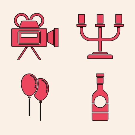 Set Champagne bottle, Cinema camera, Candlestick and Balloons with ribbon icon. Vector Imagens - 137739025