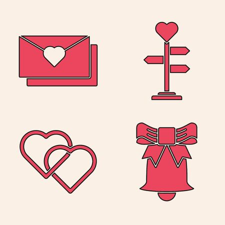 Set Ringing bell, Envelope with Valentine heart, Signpost with heart and Two Linked Hearts icon. Vector