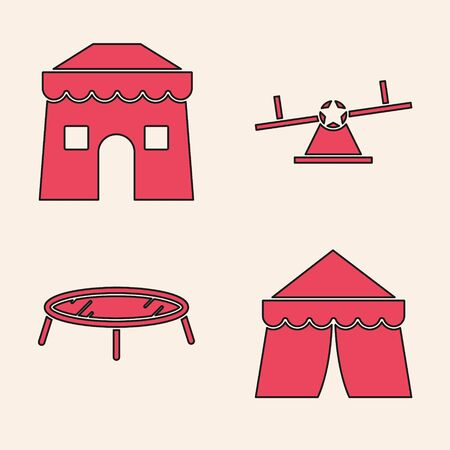Set Circus tent, Circus tent, Seesaw and Jumping trampoline icon. Vector Illustration