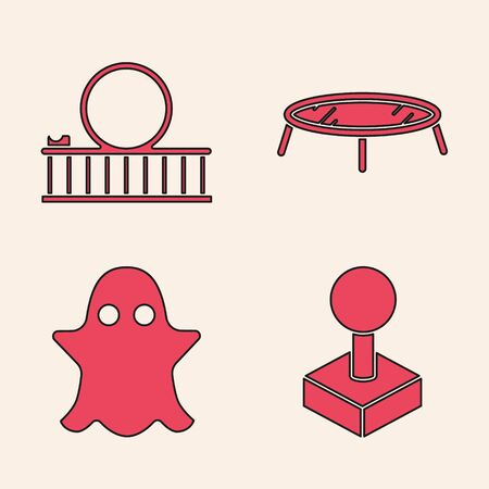Set Joystick for arcade machine, Roller coaster, Jumping trampoline and Ghost icon. Vector