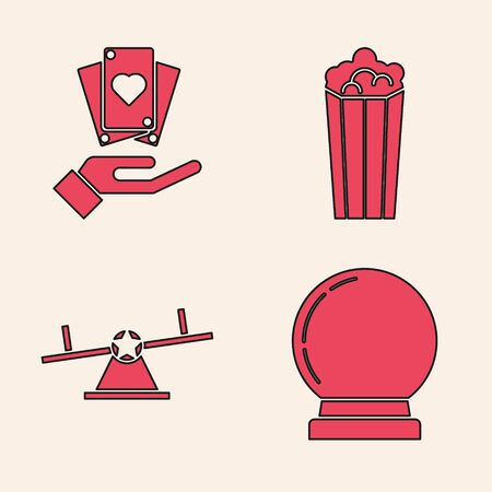 Set Magic ball, Hand holding playing cards, Popcorn in cardboard box and Seesaw icon. Vector