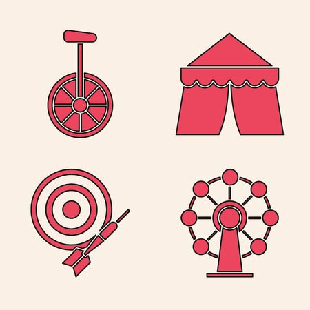 Set Ferris wheel, Unicycle or one wheel bicycle, Circus tent and Classic dart board and arrow icon. Vector Stock Illustratie