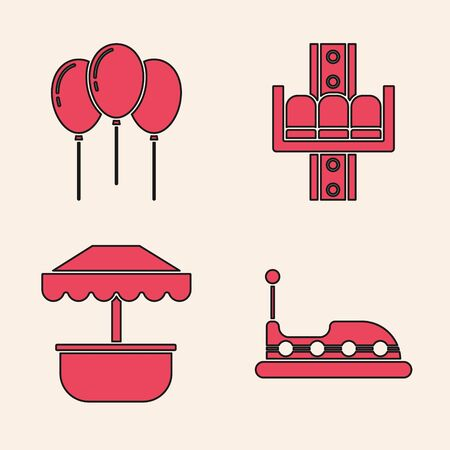 Set Bumper car, Balloons with ribbon, Attraction carousel and Attraction carousel icon. Vector Banque d'images - 137745765