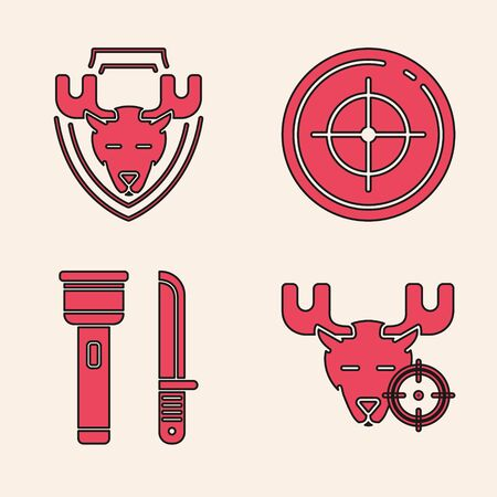 Set Hunt on moose with crosshairs, Moose head on shield, Target sport for shooting competition and Flashlight and knife icon. Vector