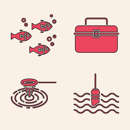 Set Fishing float in water, Fish, Case or box container for wobbler and gear fishing equipment and Fishing net in water icon. Vector Vettoriali
