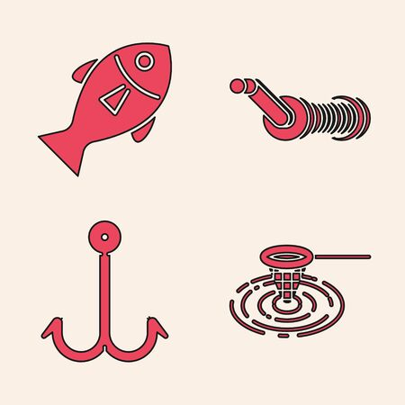 Set Fishing net in water, Fish, Spinning reel for fishing and Fishing hook icon. Vector
