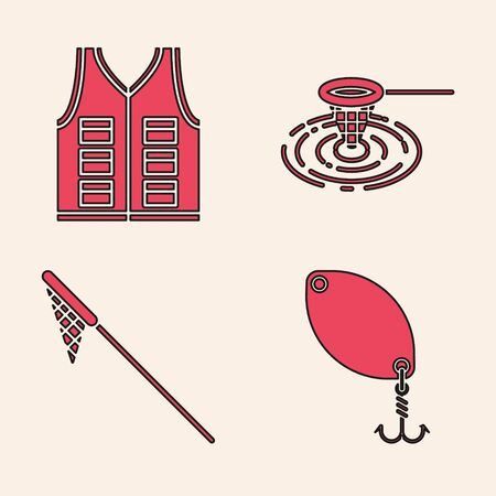 Set Fishing spoon, Fishing jacket, Fishing net in water and Fishing net icon. Vector