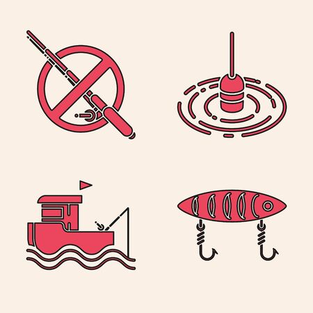 Set Fishing lure, No fishing, Fishing float in water and boat with rod on water icon. Vector