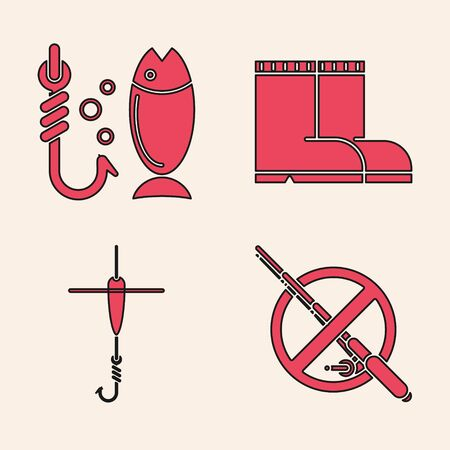 Set No fishing, Fishing, Fishing boots and Fishing hook and float icon. Vector