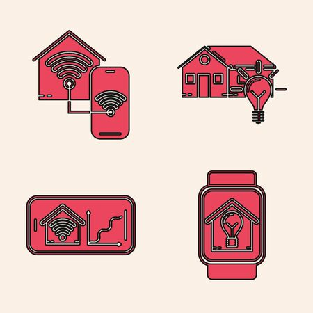 Set Smart watch with smart house and light bulb, Smart home with wifi, Mobile phone icon. Vector Çizim