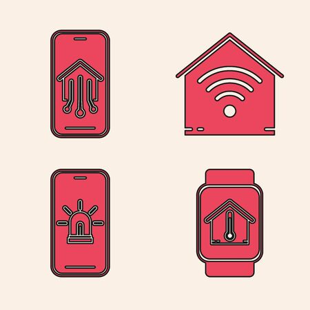 Set Smart watch with house temperature, Mobile phone with smart home, Smart home with wifi and Mobile phone with smart house and alarm icon. Vector