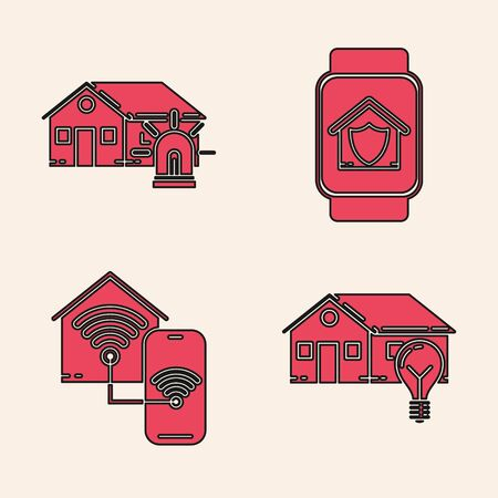 Set Smart house and light bulb, Smart house and alarm, Smart watch with house under protection and Smart home with wifi icon. Vector