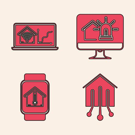 Set Smart home, Laptop with smart home with wifi, Computer monitor with smart house and alarm and Smart watch with house temperature icon. Vector Stok Fotoğraf - 138452486