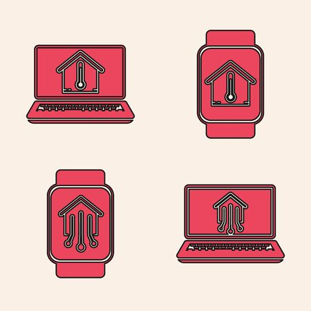 Set Laptop with smart home, Laptop with house temperature, Smart watch with house temperature and Smart home with smart watch icon. Vector Çizim