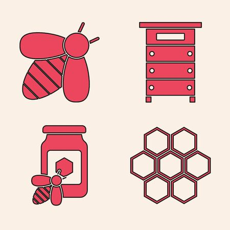 Set Honeycomb, Bee, Hive for bees and Jar of honey with bee icon. Vector