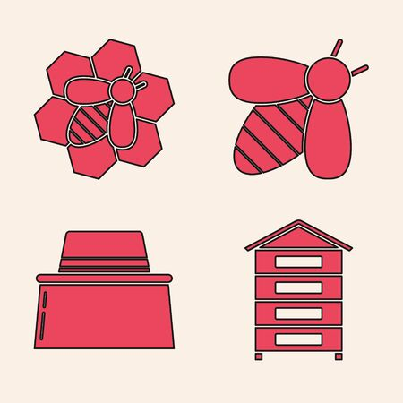 Set Hive for bees, Bee and honeycomb, Bee and Beekeeper with protect hat icon. Vector Vettoriali