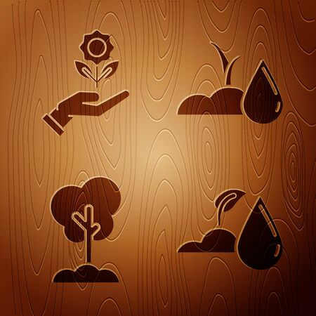 Set Watering sprout, Hand holding flower, Tree in the ground and Watering sprout on wooden background. Vector