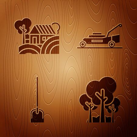 Set Trees, Farm House concept, Shovel and Lawn mower on wooden background. Vector