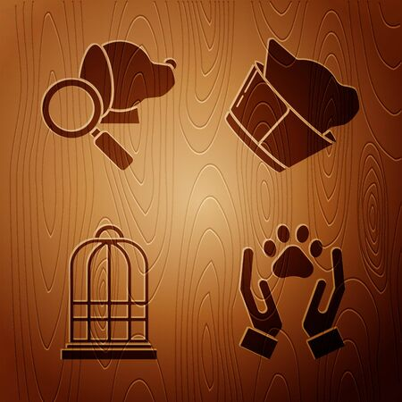 Set Hands with animals footprint, Veterinary clinic symbol, Cage for birds and Veterinary clinic symbol on wooden background. Vector