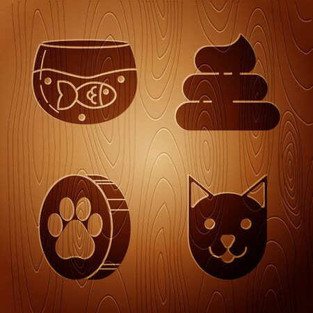 Set Cat, Aquarium with fish, Paw print and Shit on wooden background. Vector