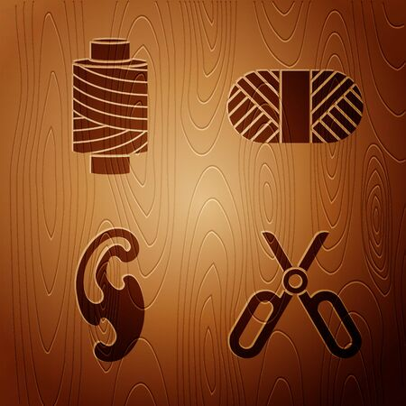 Set Scissors, Sewing thread on spool, French curves and Sewing thread on spool on wooden background. Vector