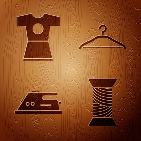 Set Sewing thread on spool, Woman dress, Electric iron and Hanger wardrobe on wooden background. Vector