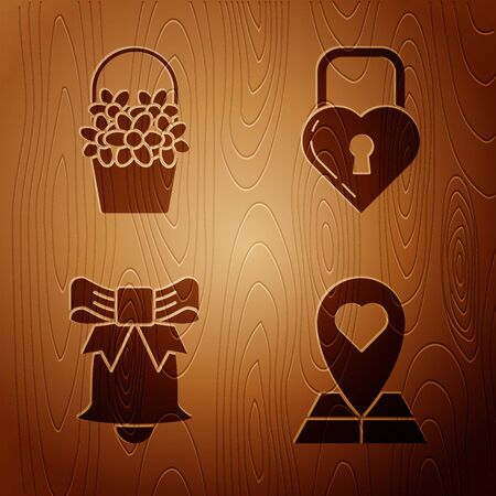 Set Map pointer with heart, Flowers in a basket, Ringing bell and Lock in the shape of a heart on wooden background. Vector  イラスト・ベクター素材